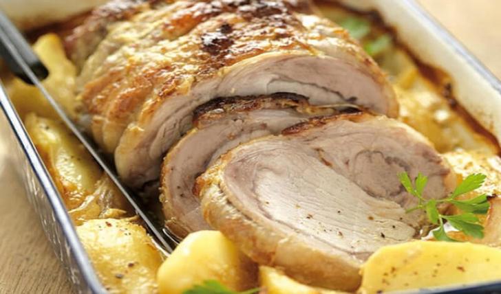 Rôti de porc et pommes de terre à la moutarde