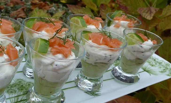 Verrine avocat chantilly de saumon recette apero