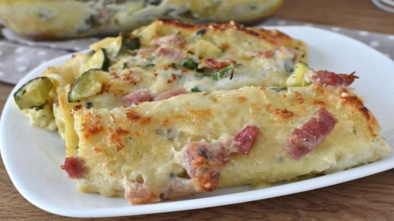 Crêpes aux courgettes et mozzarella au four