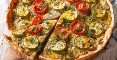 Tarte minceur aux courgettes, aux tomates et au chèvre